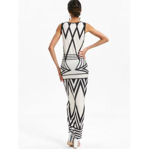 Geometric Pattern Sccop Neck Longline Dress -