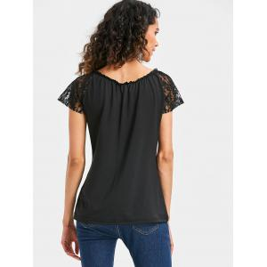 Lace Sleeve Front Cut Out T-shirt -