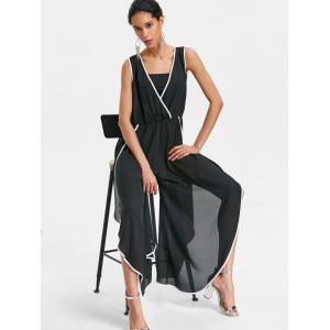 Plunge Contrast Trim Side Slit Wide Leg Jumpsuit -