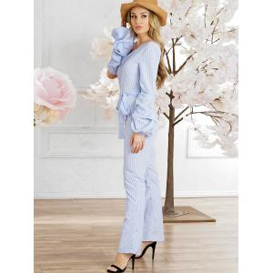 Stripes Lantern Sleeve Party Jumpsuit -