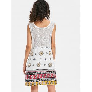 Print Lace Insert Tunic Tank Dress -