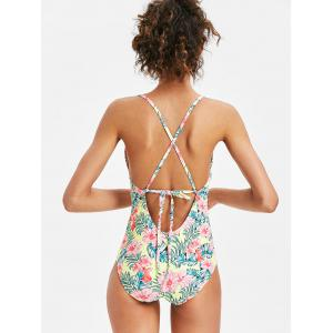 Floral Backless One Piece Swimsuit -