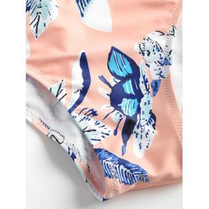 Backless Frills Trim Printed Swimsuit -