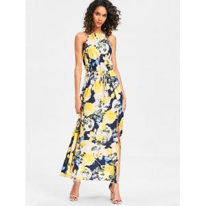 Back Cut Out Printed Maxi Dress -