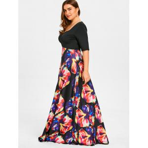 Flower Print Plus Size Maxi High Waisted Dress -