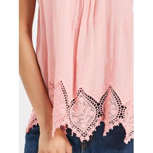 V Neck Lace Embroidered Tank Top -
