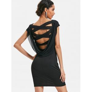 Criss Cross Cowl Back Straight Dress -
