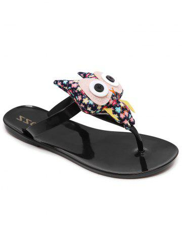Leisure Cartoon Flip Flops for Holiday - Black - 39
