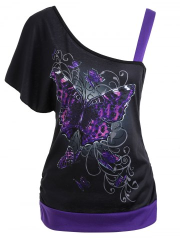 Fashion Butterfly Pattern Skew Collar Tee