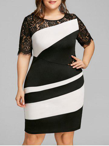 Latest Plus Size Two Tone Lace Insert Tight Dress