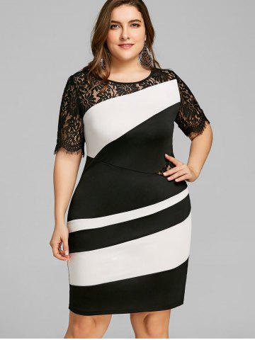 Plus Size Two Tone Lace Insert Tight Dress