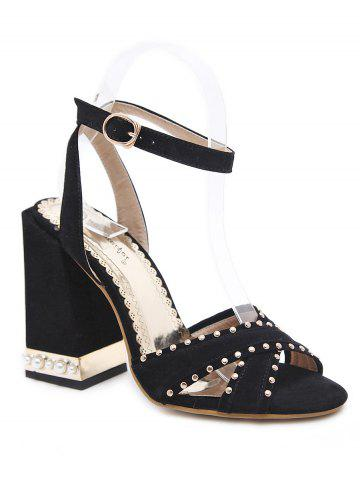 Shops Studded Ankle Wrap Chunky Heel Sandals