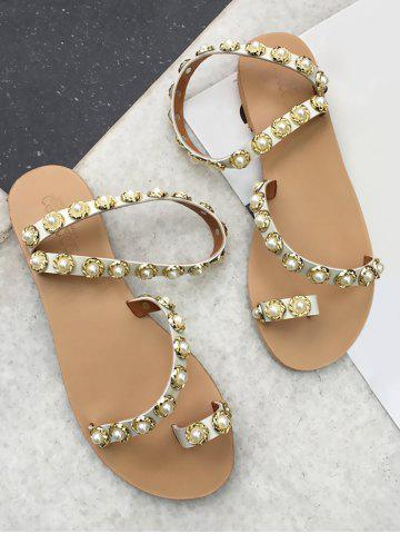 Fashion Ankle Strap Faux Pearl Toe Ring Sandals