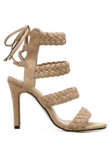 New Stiletto Heel Braid Design Lace Up Sandals