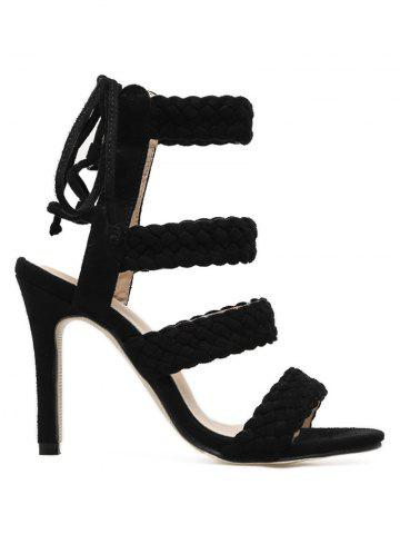 Affordable Stiletto Heel Braid Design Lace Up Sandals