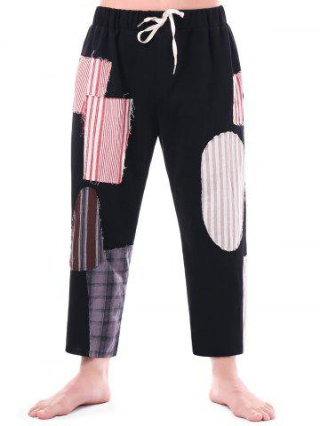 High Rise Drawstring Patched Beggar Pants