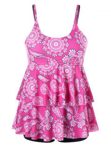 Outfits Tier Flounce Printed Plus Size Tankini
