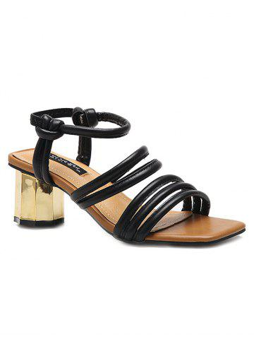 Discount Chunky Heel PU Leather Ankle Strap Sandals