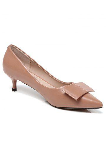 Latest Lanbaoli Bowknot Decor PU Leather Pointed Toe Low Heel Pumps