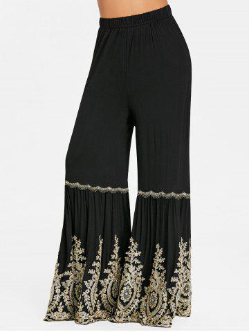 Online Applique High Waist Bell Bottom Pants