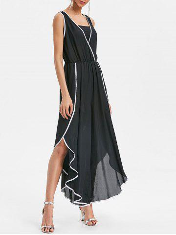 Sale Plunge Contrast Trim Side Slit Wide Leg Jumpsuit
