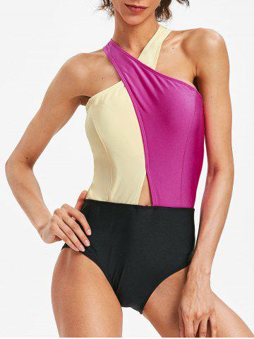 Unique Low Cut Color Block High Leg Swimsuit