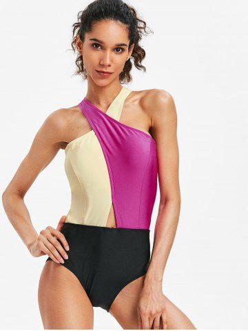 Low Cut Color Block High Leg Swimsuit