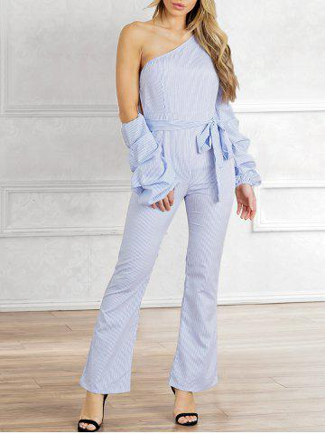 Cheap Stripes Lantern Sleeve Party Jumpsuit