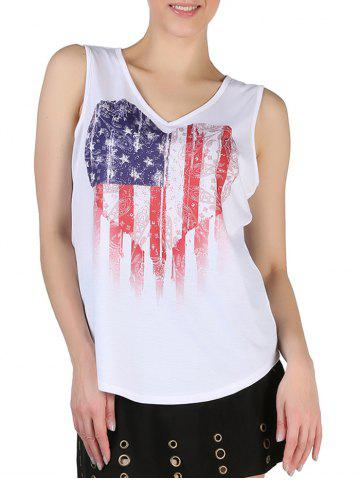 Queensfield Heart American Flag Print V Neck Tank Top - WHITE - S