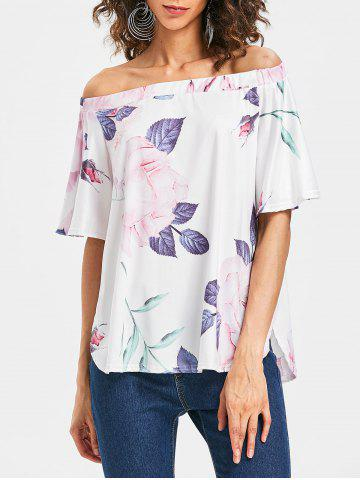 Chic Floral Print Off The Shoulder Top