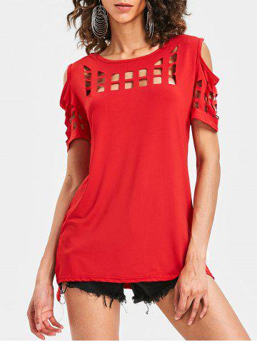 Affordable Cage Cut Out Cold Shoulder Tee