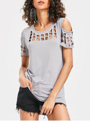 Fancy Cage Cut Out Cold Shoulder Tee