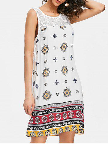 Store Print Lace Insert Tunic Tank Dress