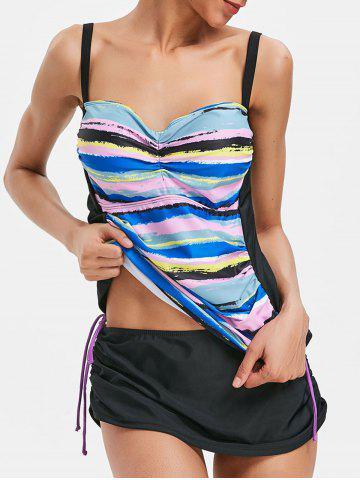Latest Spaghetti Strap Multicolor Stripe Tankini