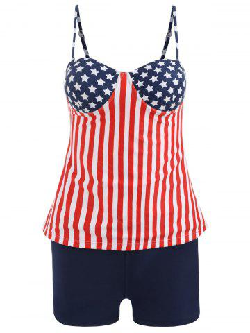 Fashion Stars and Stripes Print Tankini