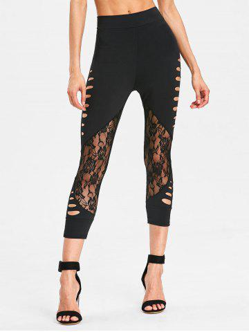 Sale High Waisted Lace Panel Leggings