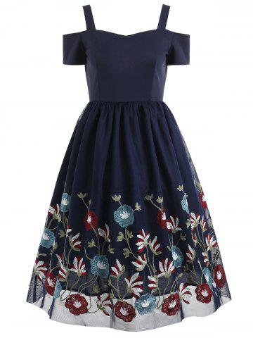 Online Sweetheart Neck Floral Embroidery A Line Dress
