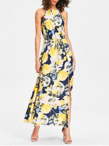 Fashion Back Cut Out Printed Maxi Dress