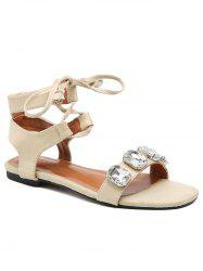 Ankle Strap Crystal Crisscross Sandals -