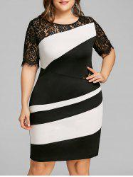 Plus Size Two Tone Lace Insert Tight Dress -
