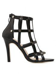 Studded High Heel Back Zip Gladiator Sandals -