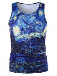 Crew Neck Starry Sky Print Tank Top -