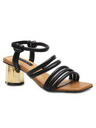 Chunky Heel PU Leather Ankle Strap Sandals -
