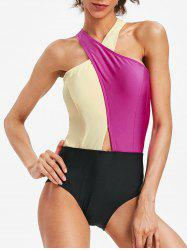 Low Cut Color Block High Leg Swimsuit -