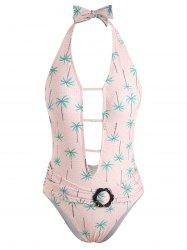 Coconut Trees Low Back One Piece Swimsuit -