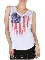 Queensfield Heart American Flag Print V Neck Tank Top -