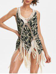 Crochet Insert Fringed Camo Cover Up -