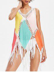 Color Block Fringed Tunic Cover Up -