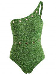 Grommet Insert One Piece Backless Swimwear -