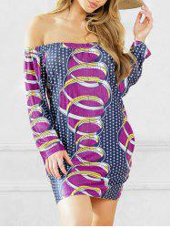 African Style Off Shoulder Shift Dress -